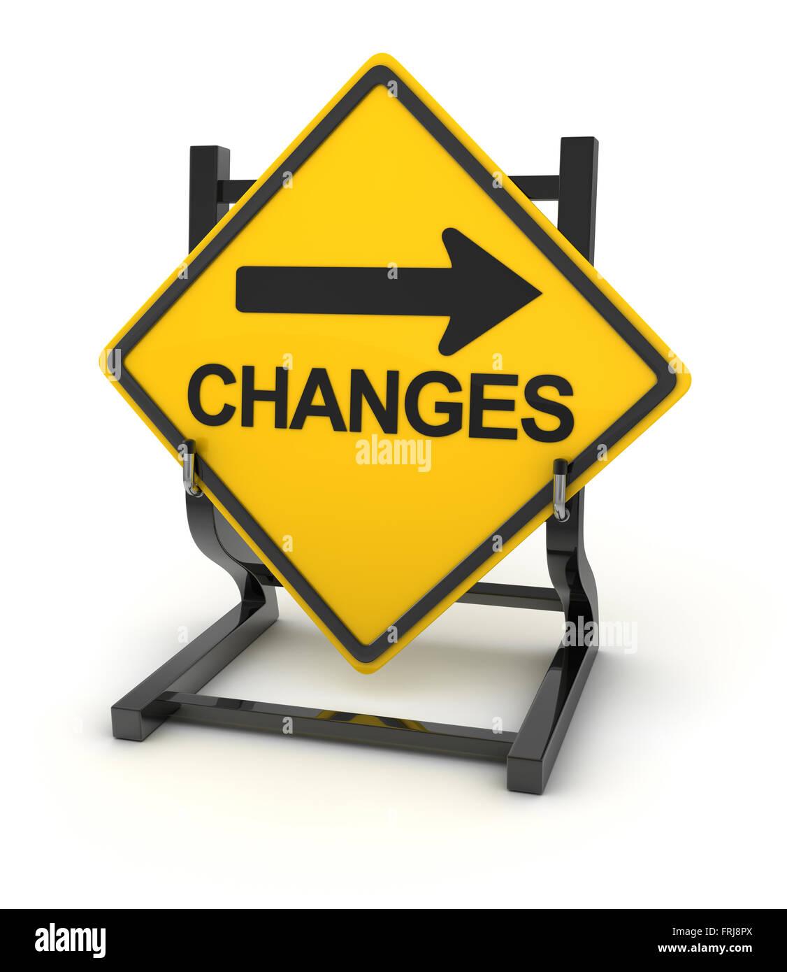 Panneau routier - changements à venir , 3d image rendue. Banque D'Images
