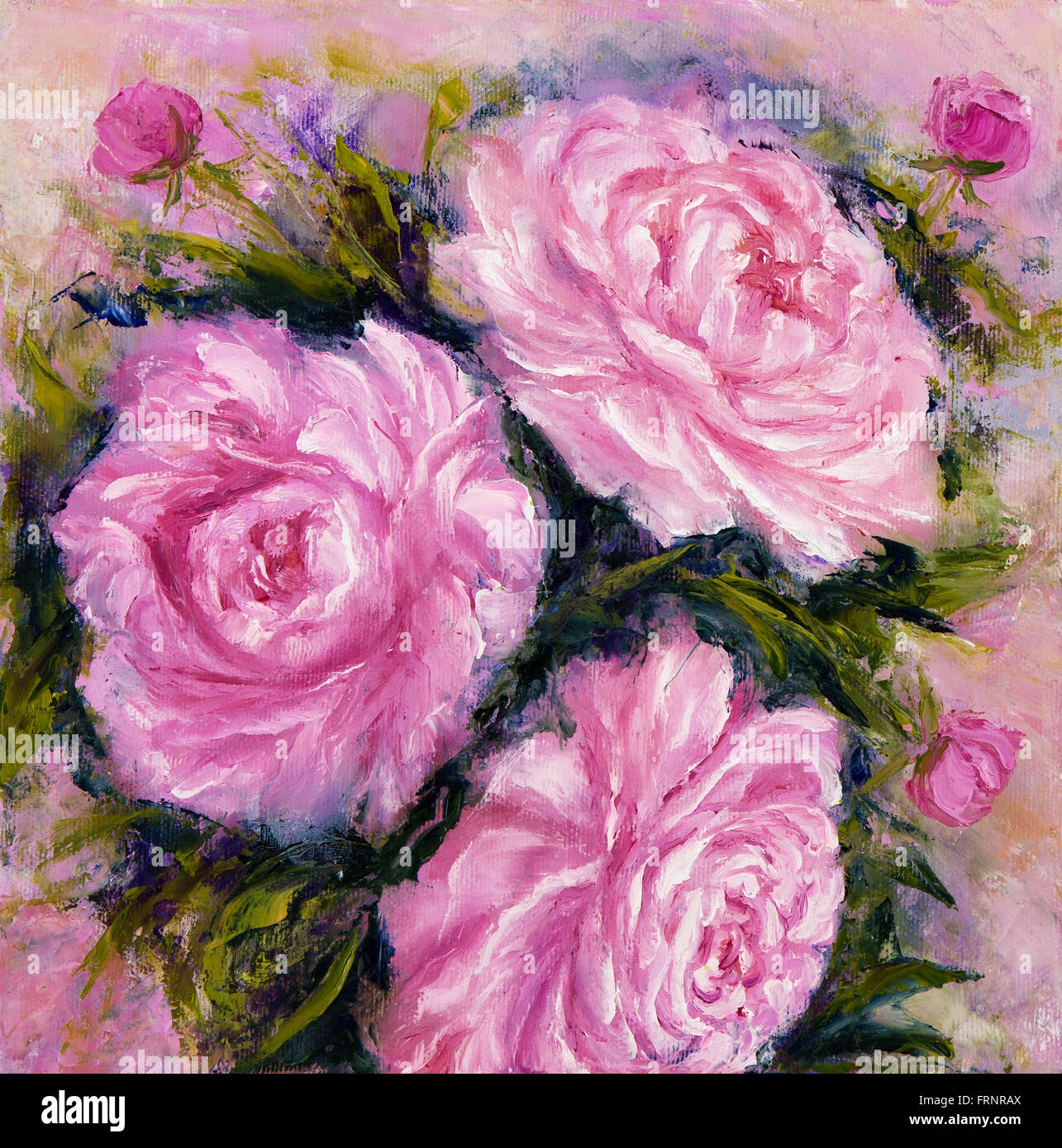 Peinture A L Huile Original Montrant Les Fleurs Rose Bouquet Genre