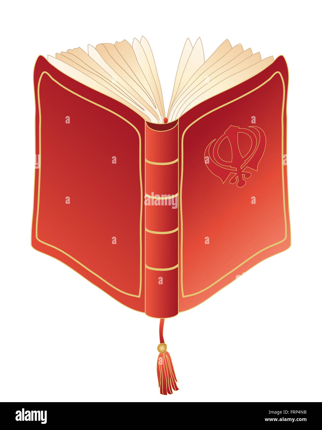 Une illustration d'un livre de prière rouge Sikh avec des passages du Guru Granth Sahib Ji Photo Stock