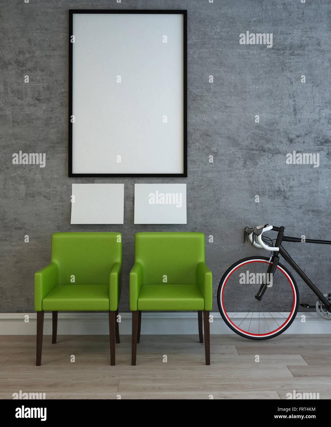 Scène d\'intérieur 3D Création de deux chaises vertes, de taille ...
