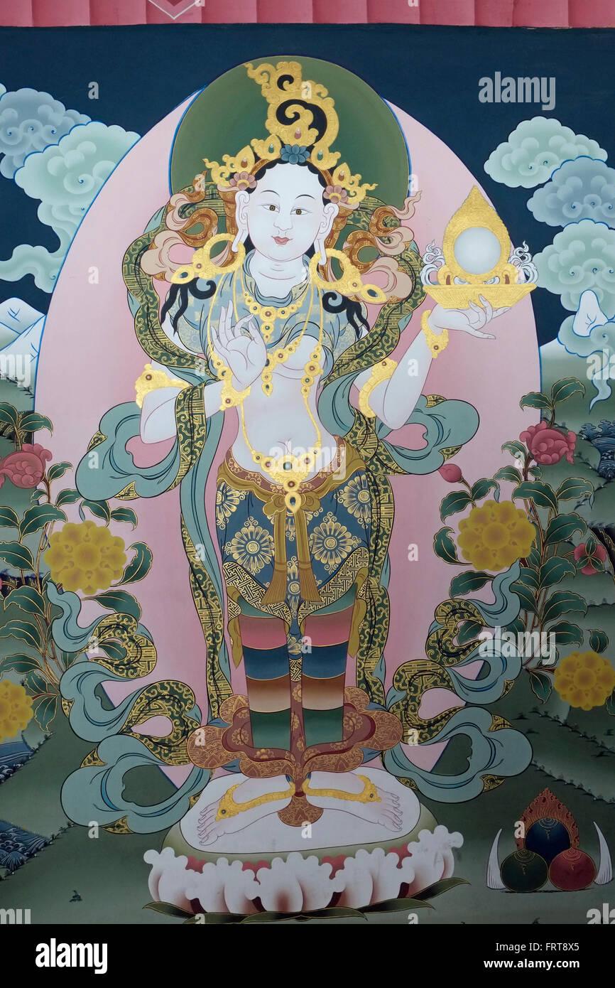 Un bouddhiste murale dans le Tashichho Dzong, Thimphu, Bhoutan. Photo Stock