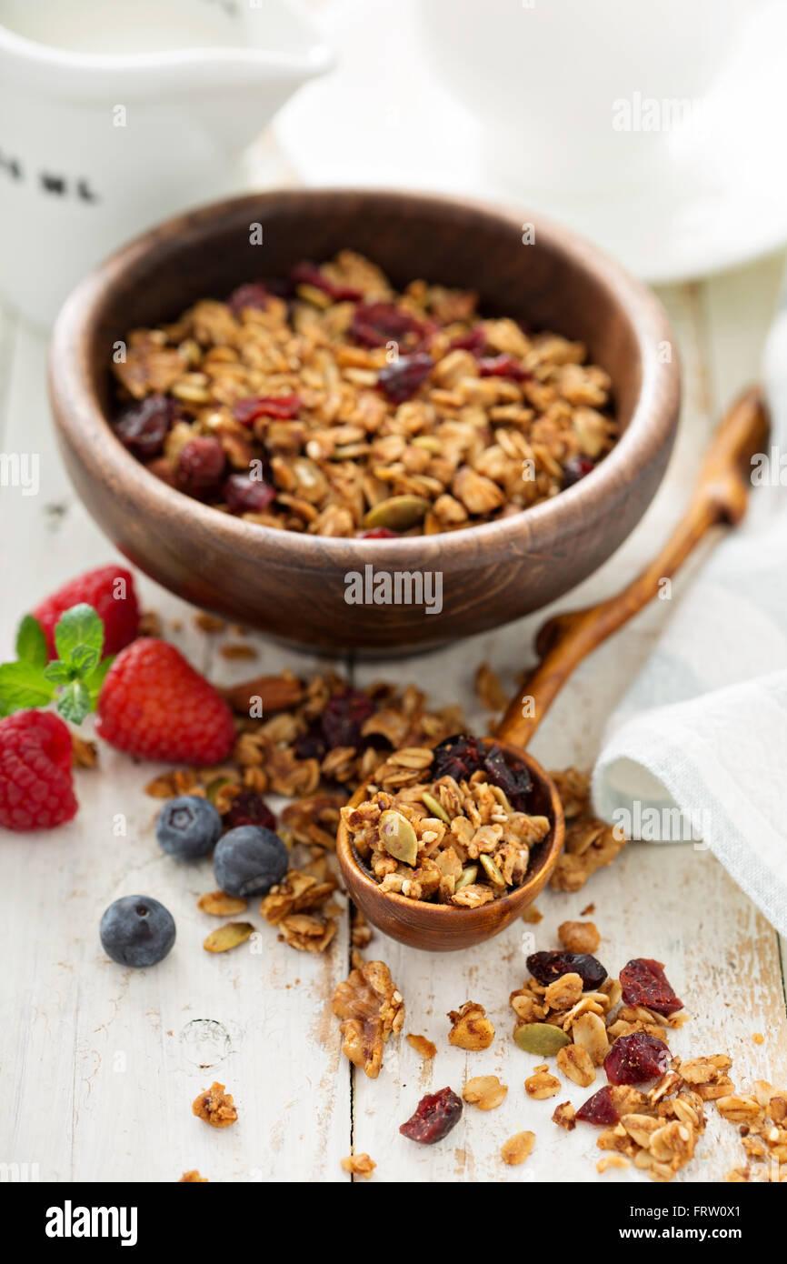 Granola fait maison avec du lait pour le petit déjeuner Photo Stock