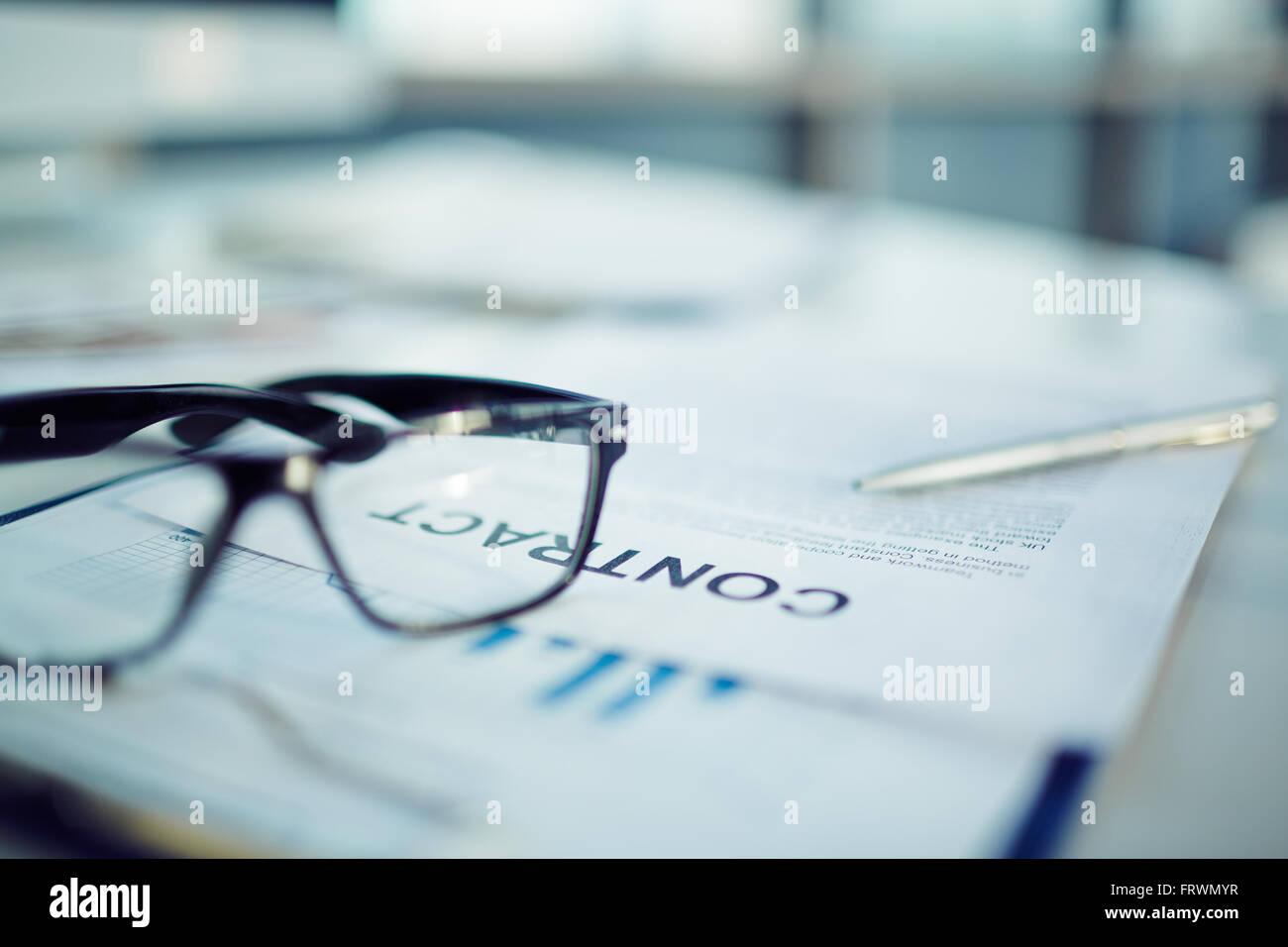 Les détails du contrat d'entreprise Photo Stock
