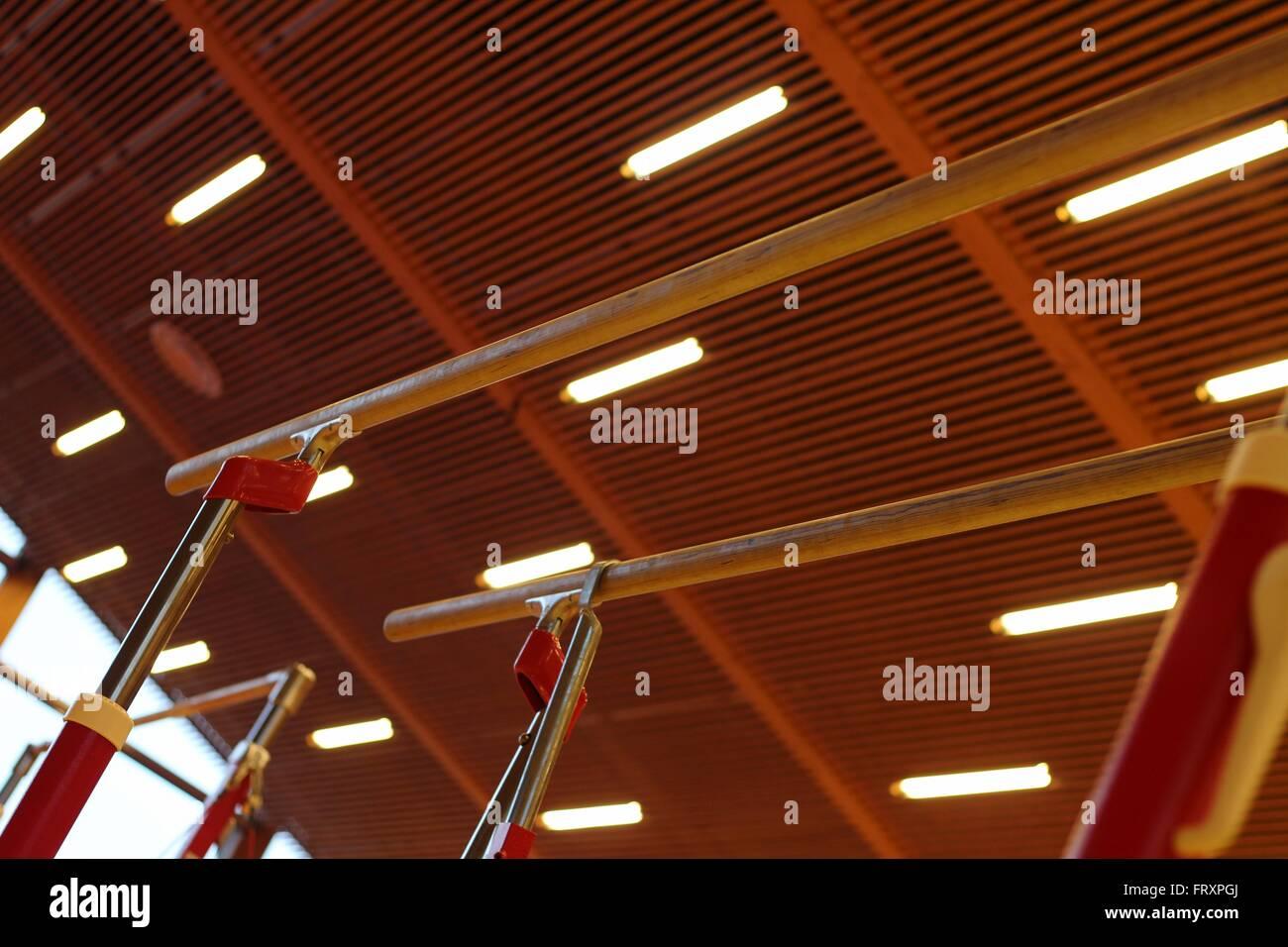 Appareils de gymnastique dans un club de gymnastique dans les îles féroé Photo Stock