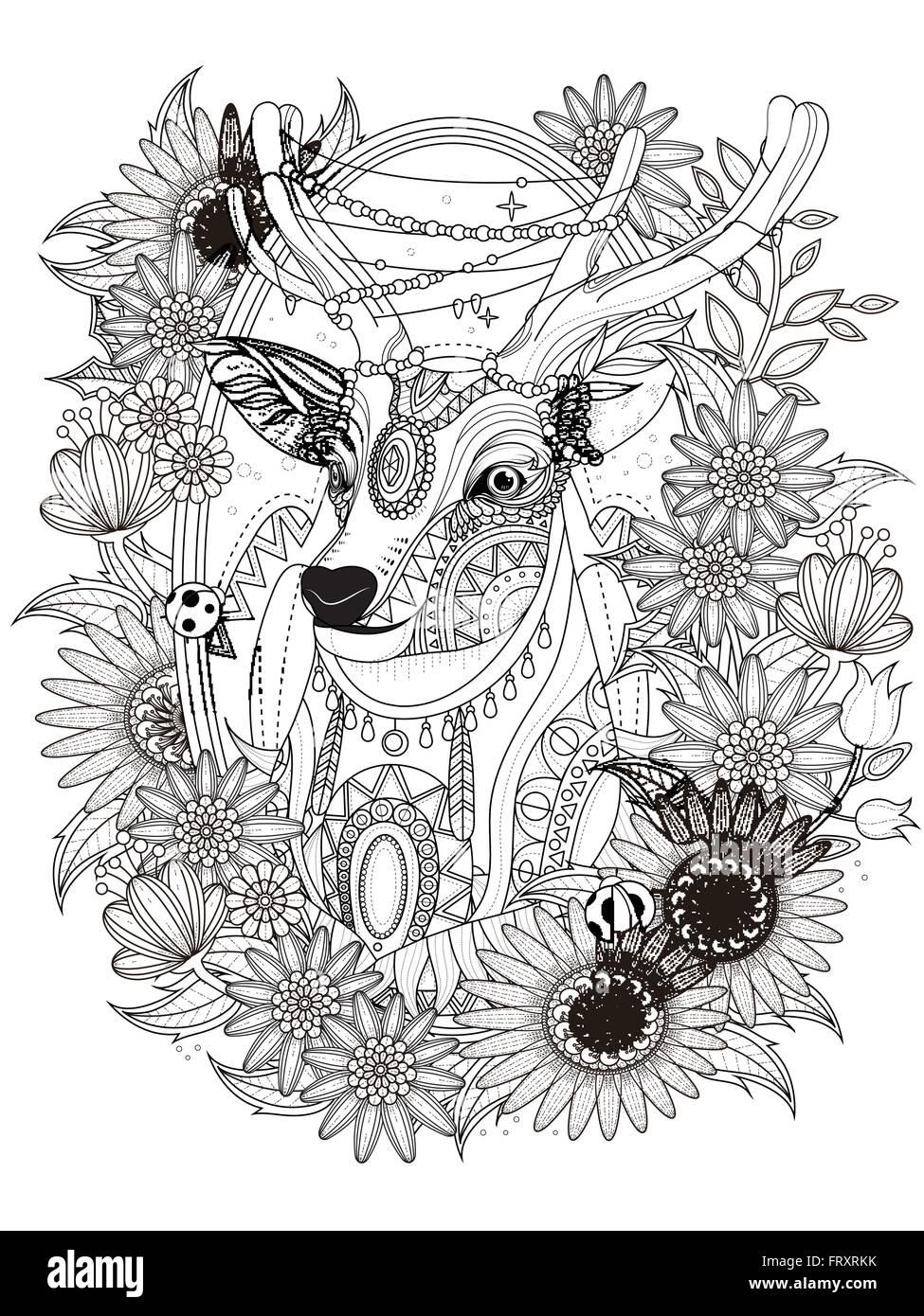 Superbe Cerf Avec Couronne De Fleurs Coloriage Adultes Vecteurs Et
