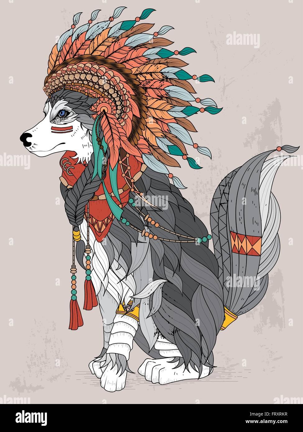 Coloriage Adulte Loup.Joli Style Indien Loup Coloriage Adultes Vecteurs Et Illustration