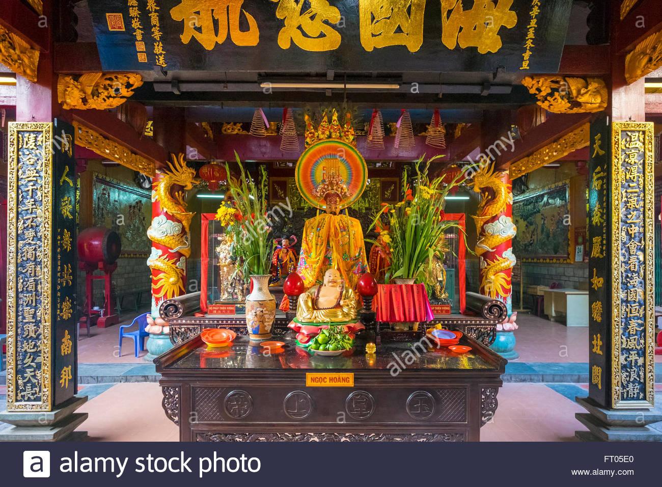 La Pagode Quan Am (Chua Quan Am) temple bouddhiste de l'intérieur, Cho Lon district, Ho Chi Minh Ville Photo Stock