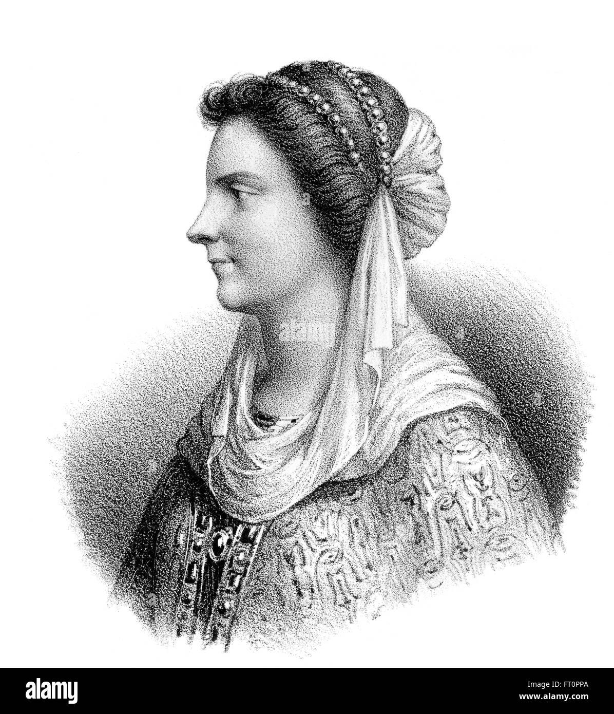 Nantechild, Nanthild, ch. 610-642, une reine consort franque et regent, épouse de Dagobert I, roi des Francs, 629-639 Banque D'Images