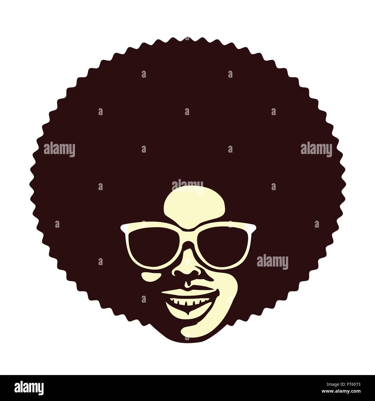 Cool Funky homme africain avec afro hairstyle et lunettes de vector  illustration Photo Stock fe15333eb5da
