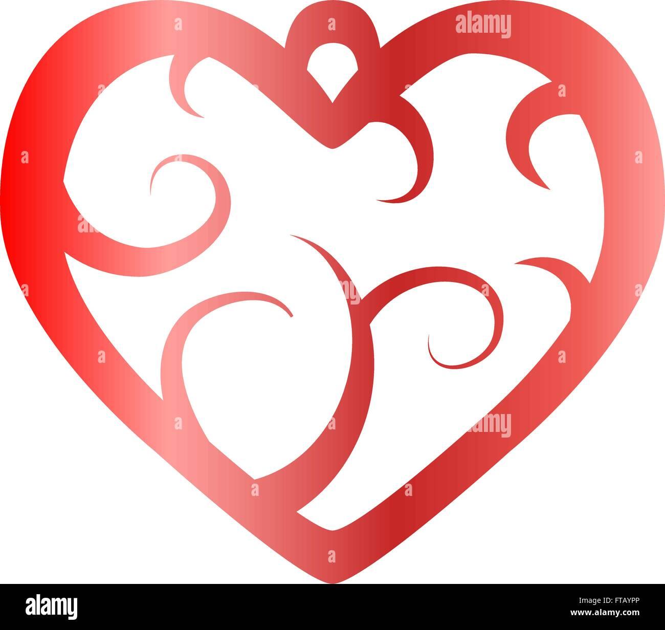 Dessin Vectoriel Pendentif Avec Motif Coeur Rouge Vecteurs Et