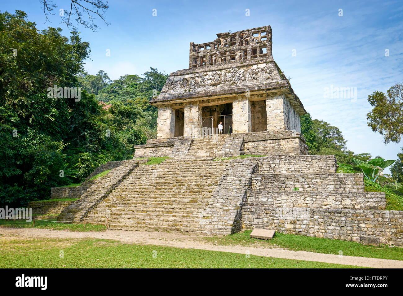 Temple du Soleil, l'ancienne ville Maya de Palenque, Chiapas, Mexique Photo Stock