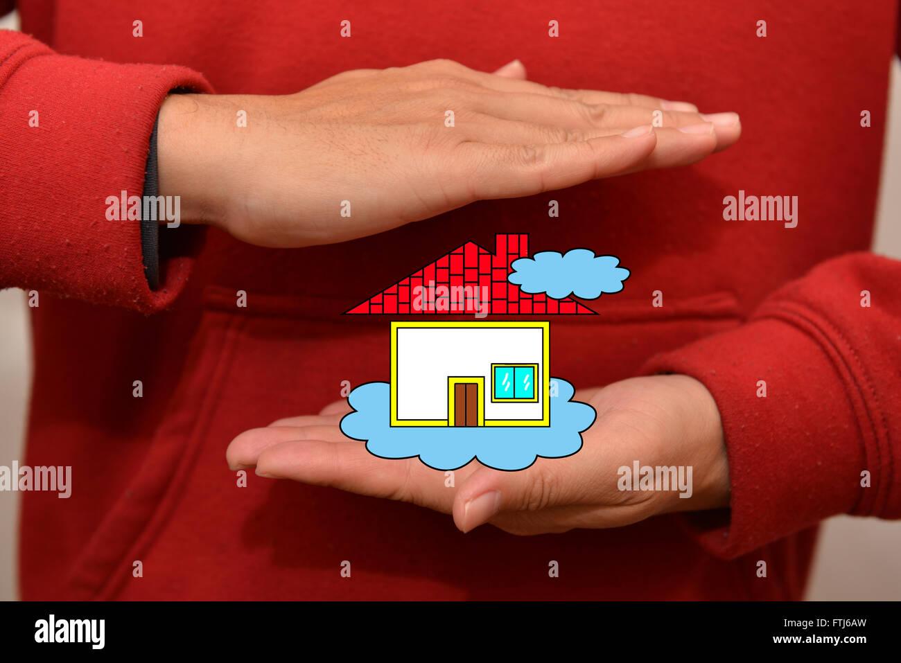 Nous pouvons nous permettre d'acheter une maison entre nous . Photo Stock