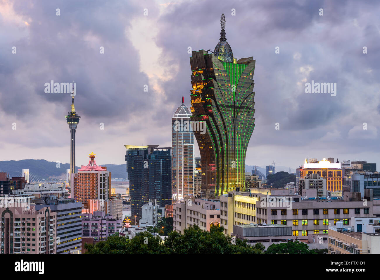 Macao, Chine sur la ville. Photo Stock