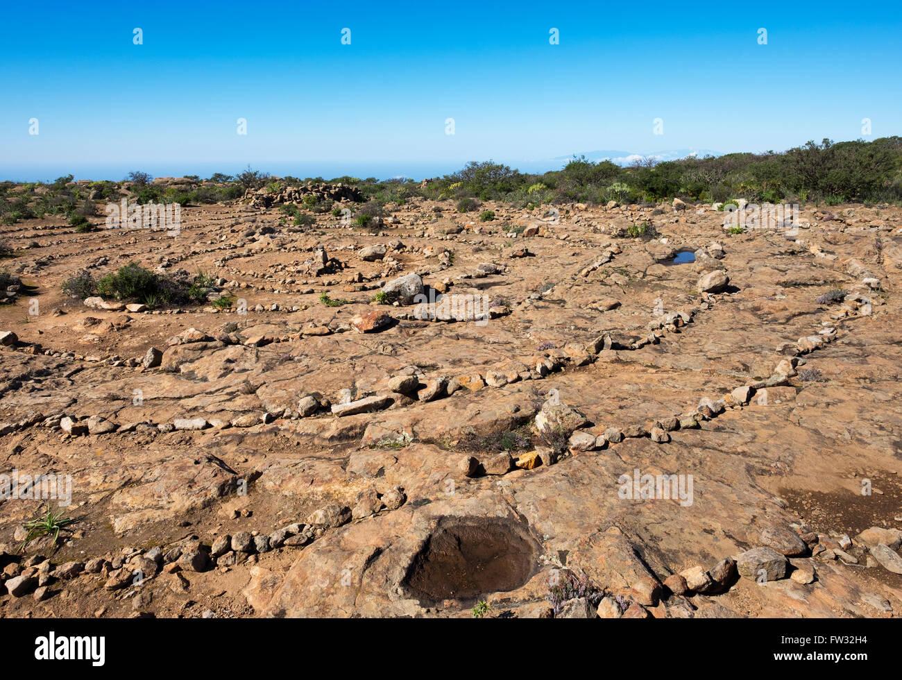 Les cercles de pierres préhistoriques, lieu de culte sur le mont table La Fortaleza, La Gomera, Canary Islands, Photo Stock