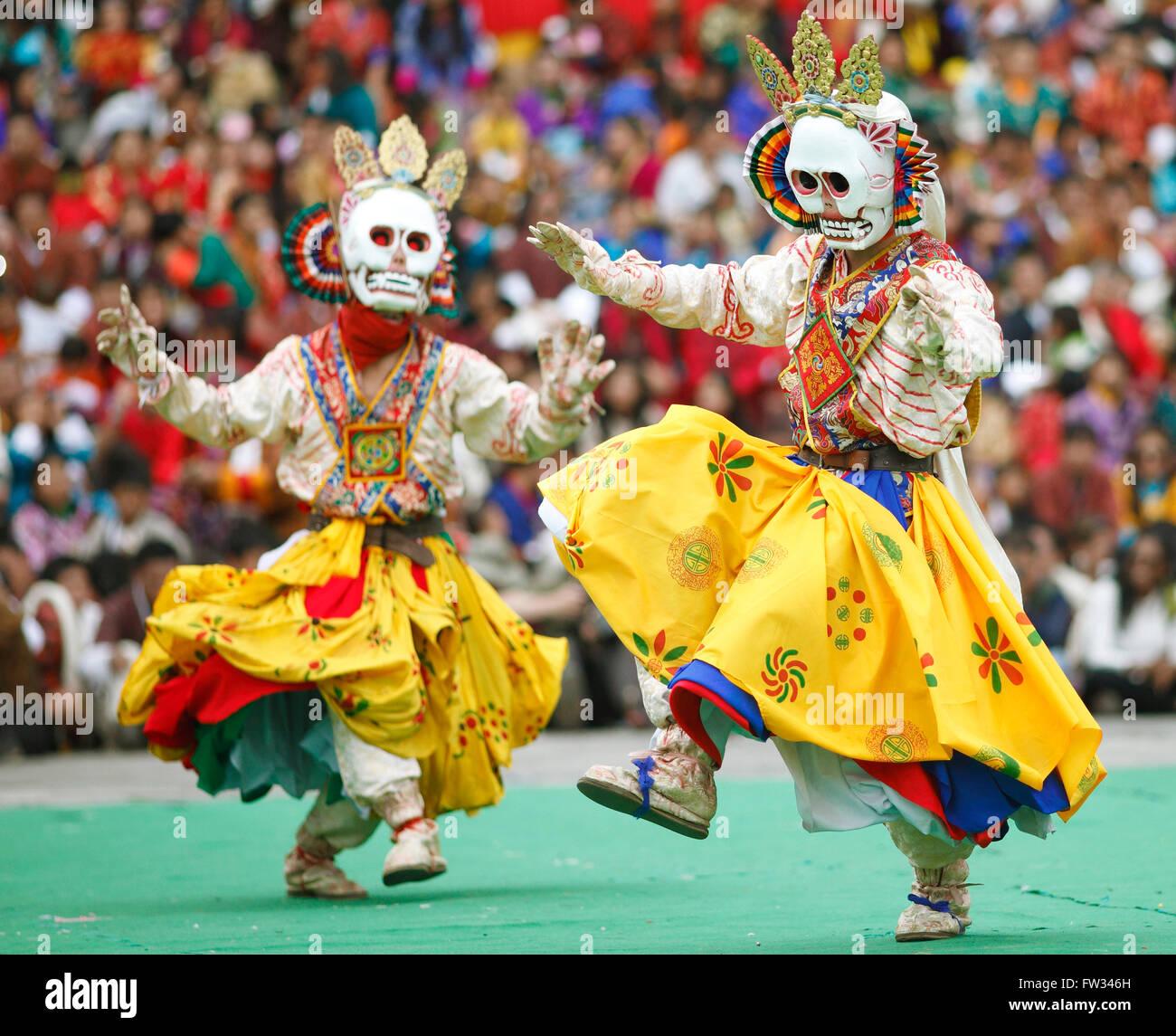 Le Tashichho Dzong carnavaliers au festival du monastère, Thimphu, Bhoutan Photo Stock