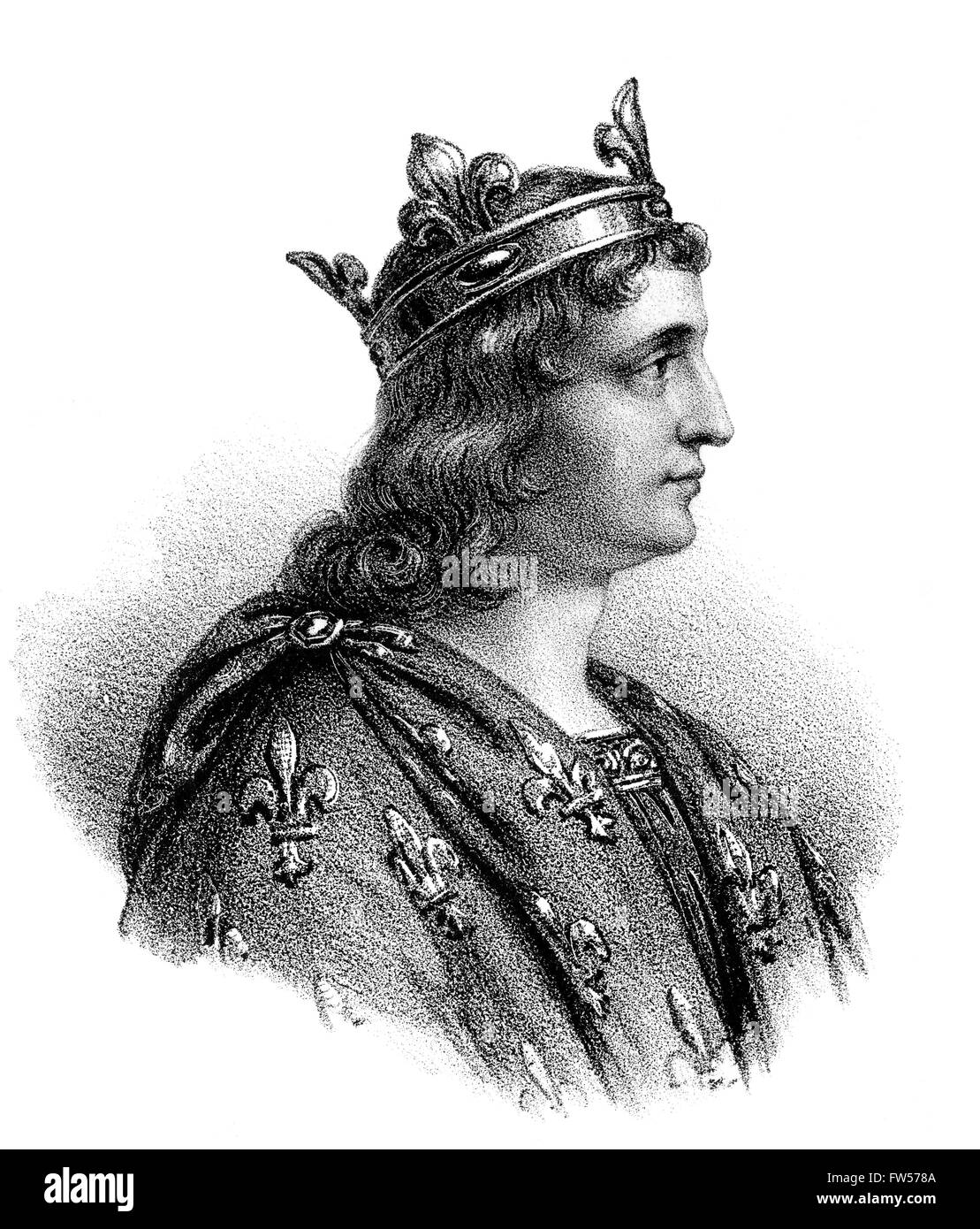 Louis V, appelé le paresseux ; c. 966/67-987, roi de Francia Occidentale Photo Stock