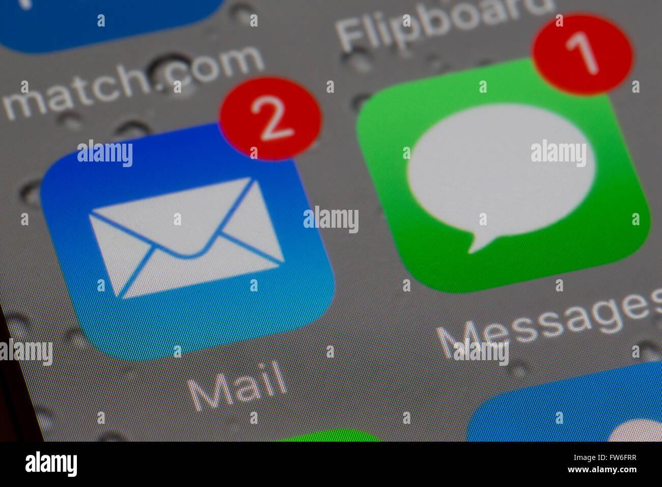 Apps par courriel et message texte Photo Stock