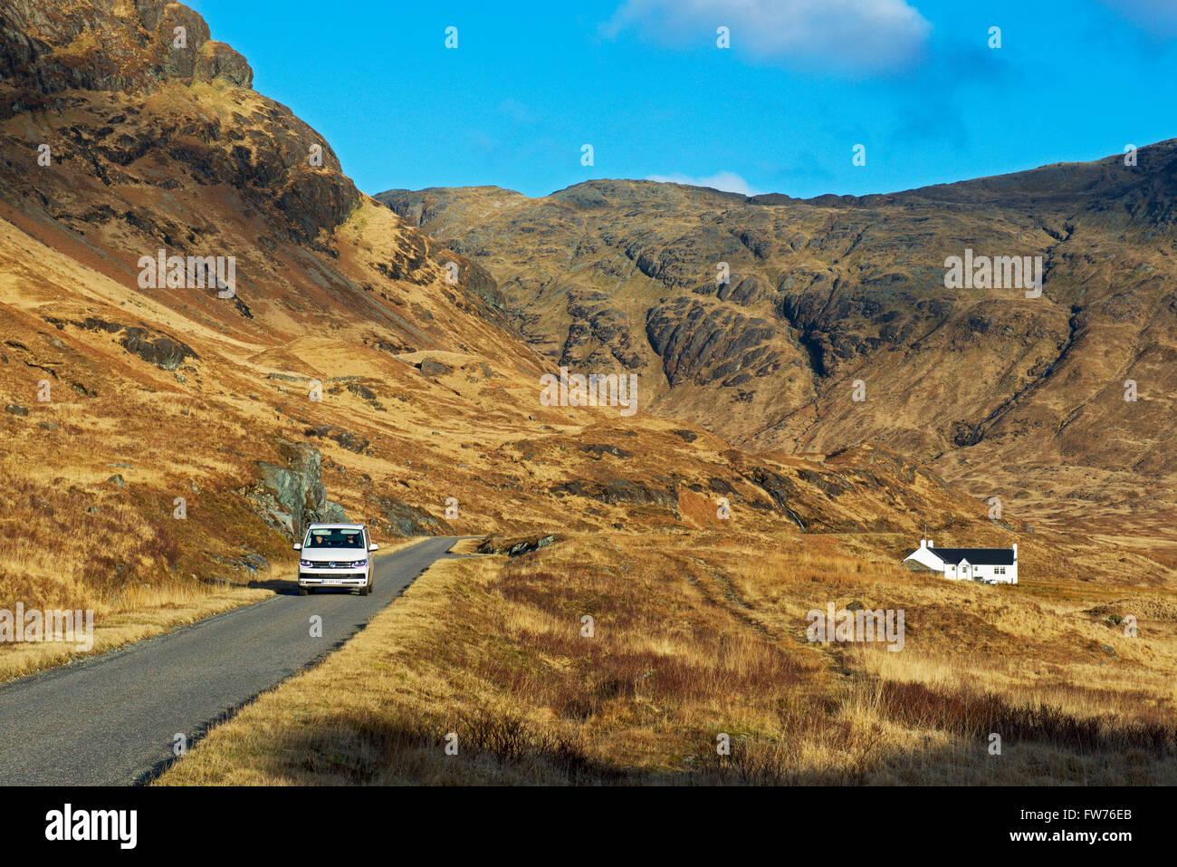 Chalet à distance en plus Glen, île de Mull, Hébrides intérieures, Ecosse UK Photo Stock