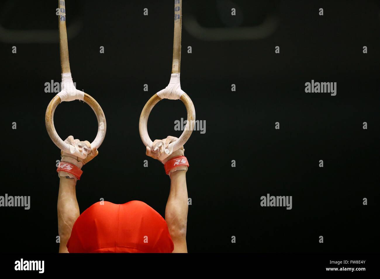 Tokyo, Japon. 1er avril 2016. Detail shot, Avril 1, 2016 - La gymnastique artistique: la 70e Japon Tous les Photo Stock