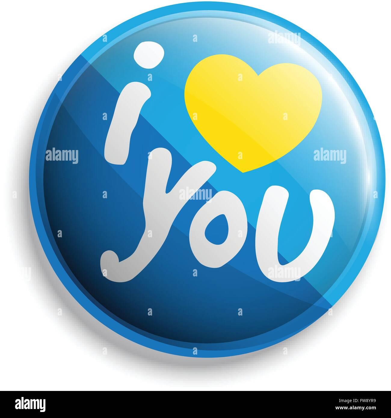 I love u bouton. Vector illustration. Peut utiliser pour l'impression et le web. Photo Stock