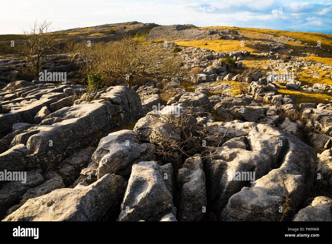Lapiez sur Farleton tomba South Lakeland Cumbria Photo Stock