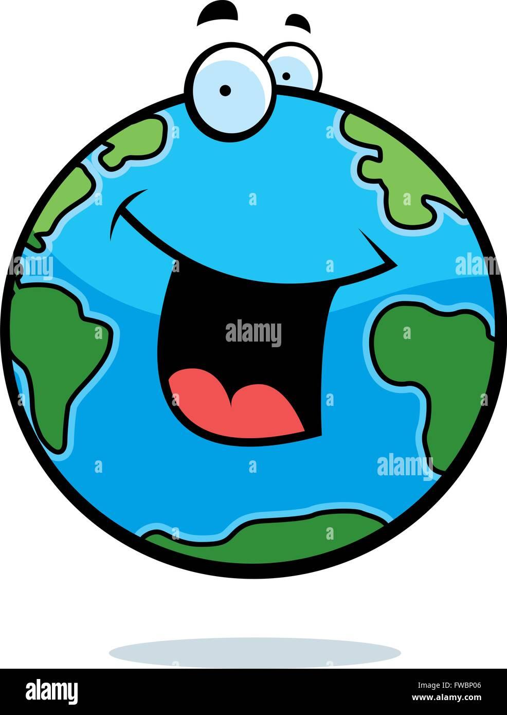 Un Dessin De La Planète Terre En Souriant Et Heureux Vecteurs Et
