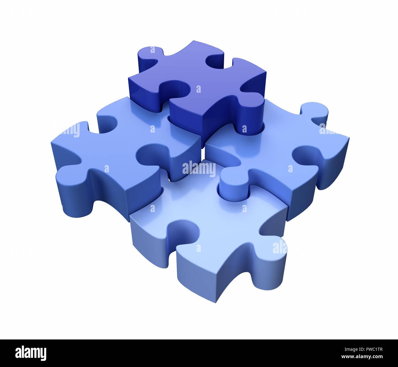 Quatre pièces de puzzle denteux bleu sur fond blanc Photo Stock
