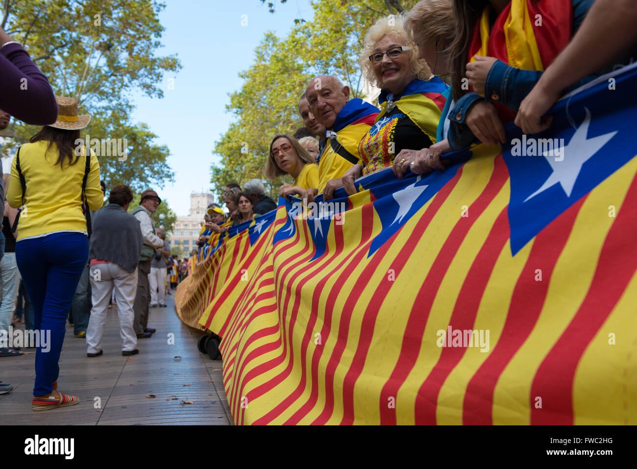 La Journée nationale du drapeau de la Catalogne à Barcelone, Espagne Photo Stock