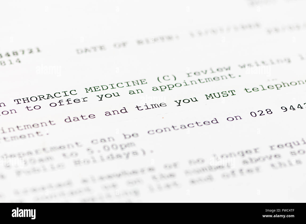 Lettre informant le rendez-vous du patient d'un rendez-vous avec la Clinique de médecine thoracique. Photo Stock