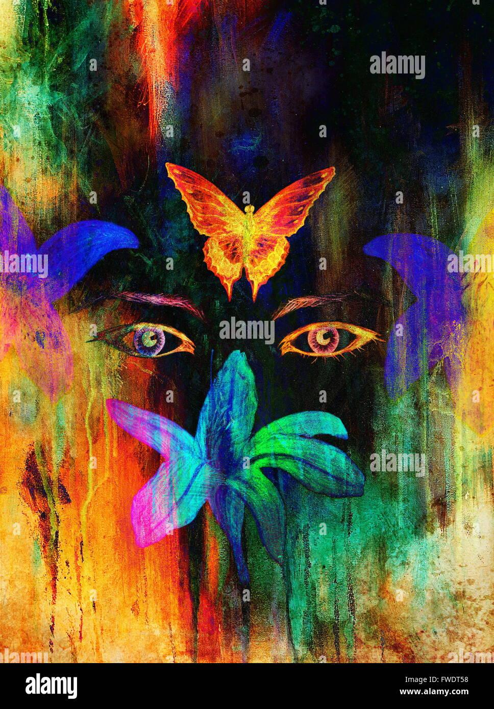 Femme Les Yeux Avec Fleur Et Papillon Dessin Au Crayon De Couleur