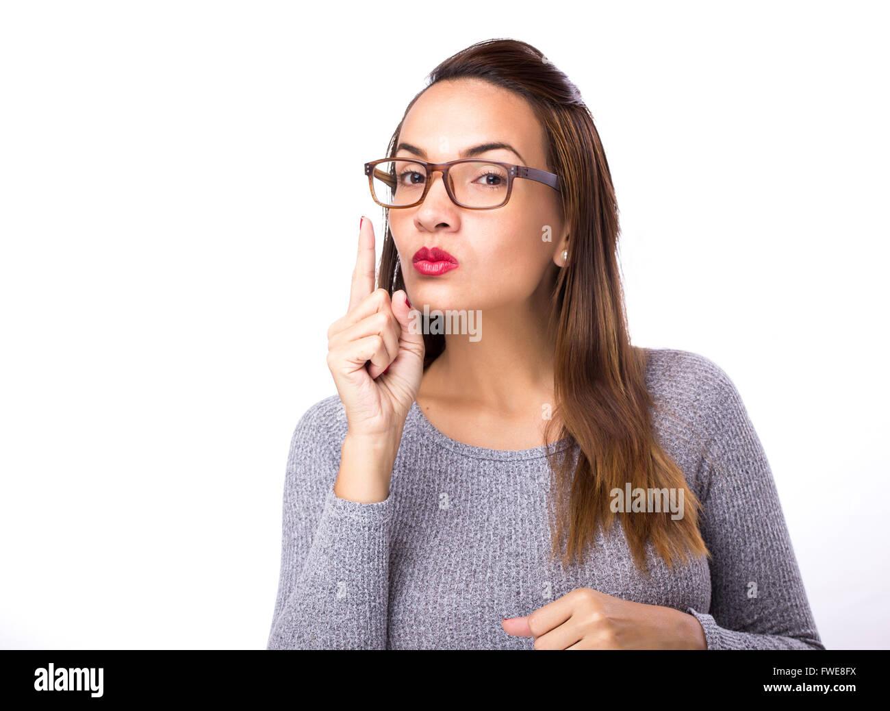 Jeune femme avec mauvaise aptitude Photo Stock
