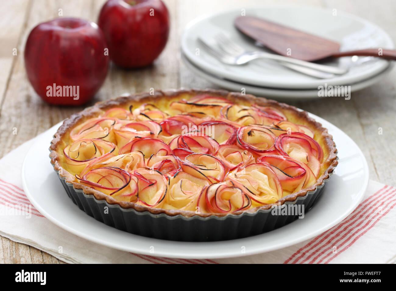 Comme la tarte aux pommes bouquet de roses Photo Stock