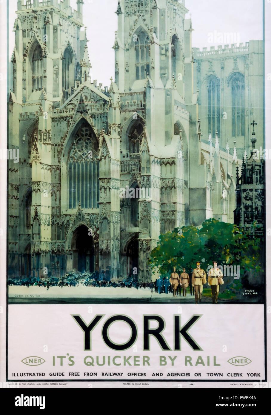 La promotion de l'affiche de chemin de fer Vintage LNER York, Yorkshire, Angleterre, Royaume-Uni Photo Stock