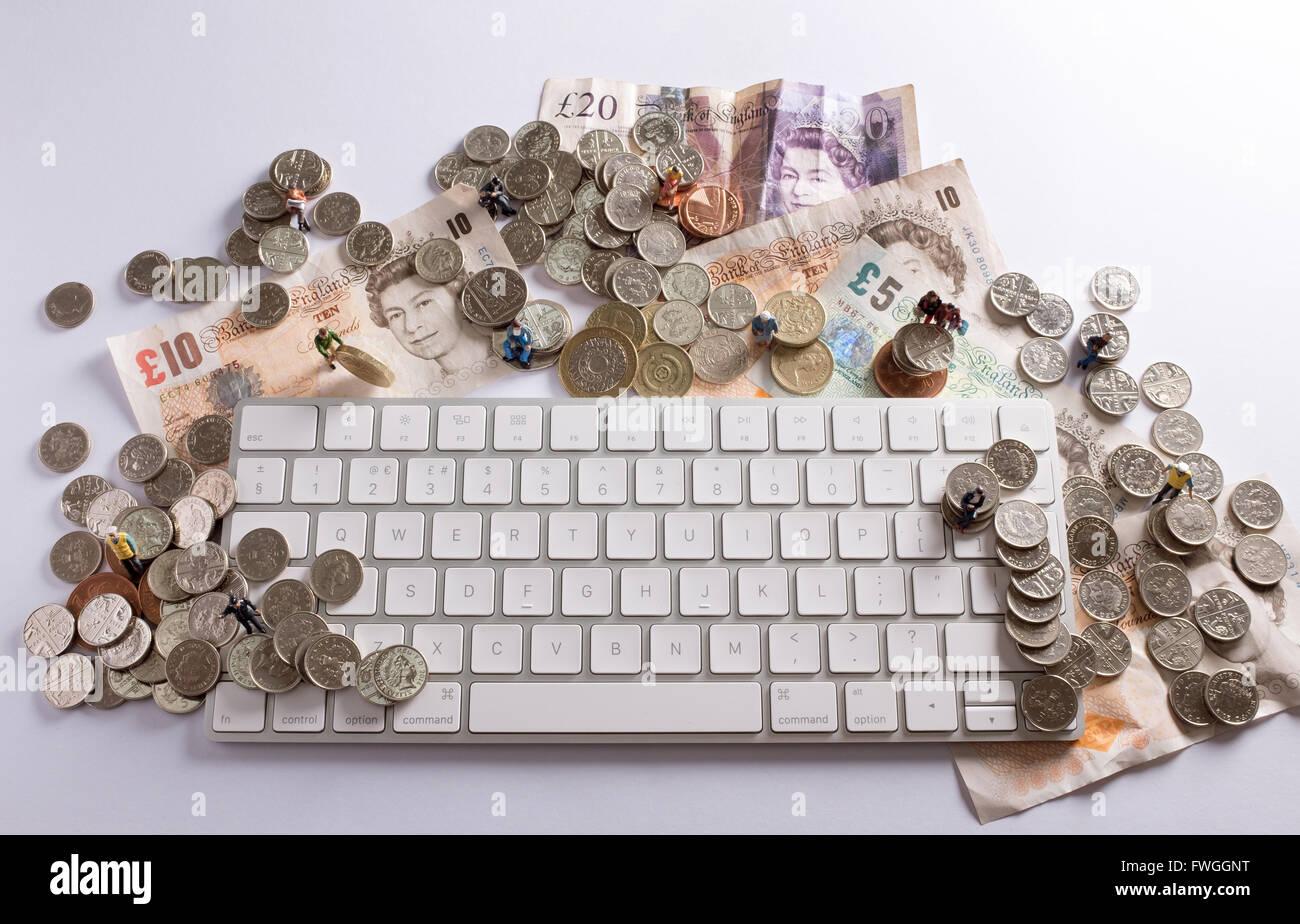 Image concept crowdfunding montrant comment les gens peuvent venir ensemble pour mobiliser des fonds à l'aide de l'internet Banque D'Images
