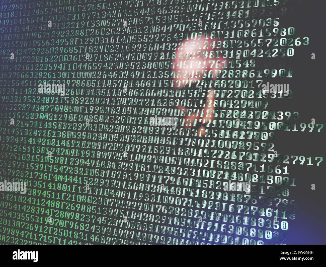 Visage humain avec des numéros verts Photo Stock