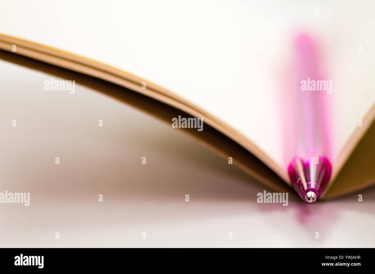 Plume rose sur Open Notebook At Table Banque D'Images