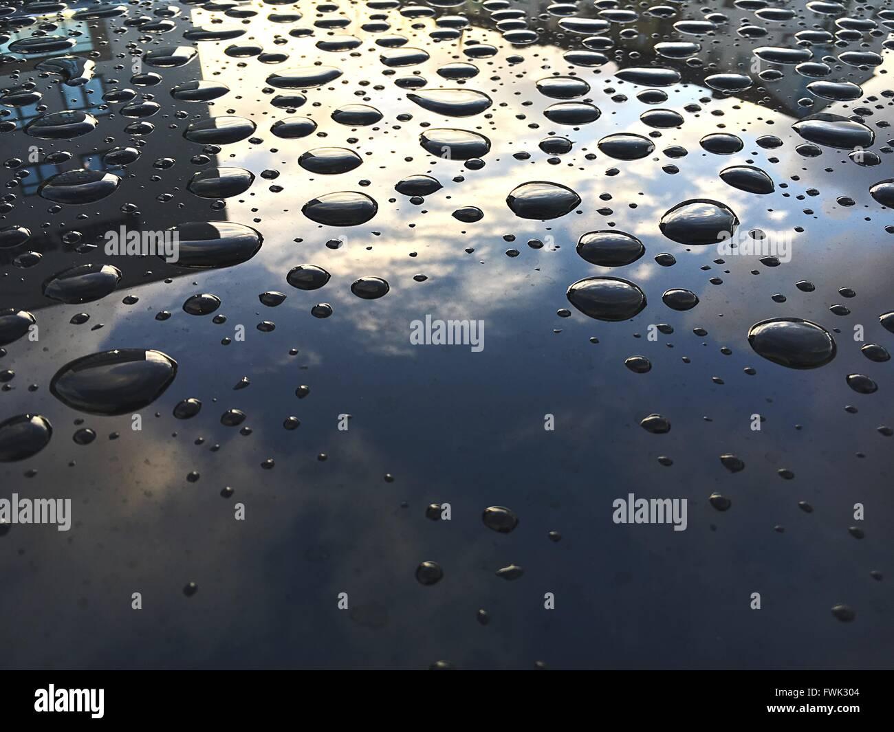 Plan de gouttes d'eau sur un capot de voiture Photo Stock