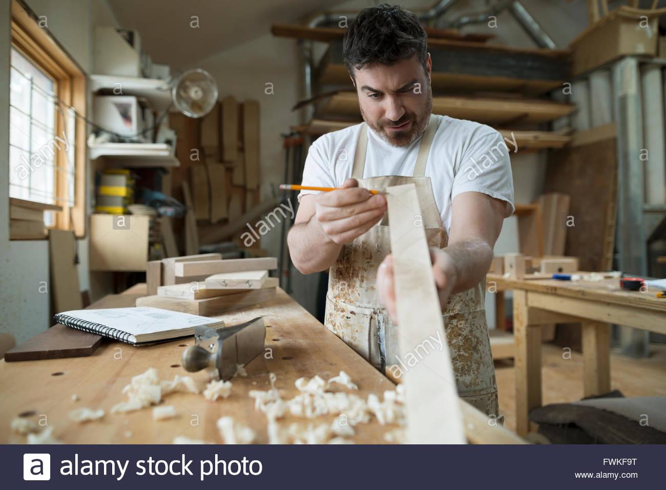 Menuisier bois atelier de marquage Photo Stock