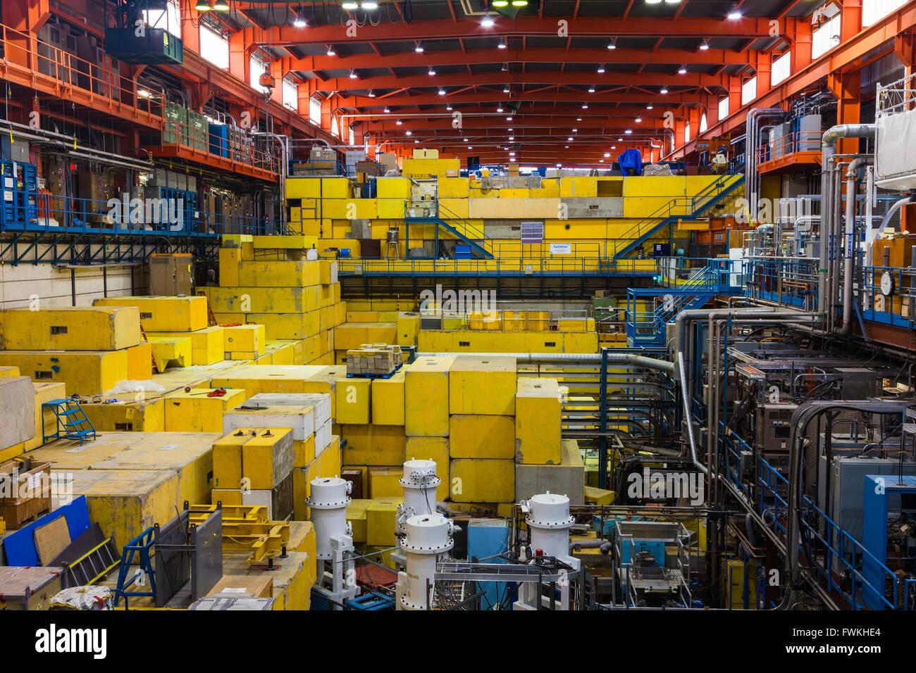 Hall d'expérimentation de l'accélérateur de particules TRIUMF à Vancouver complexe Photo Stock