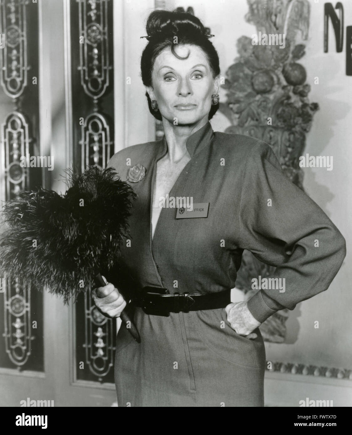 Cloris Leachman comme Mme Frick dans le Nutt House, USA 1989 Photo Stock
