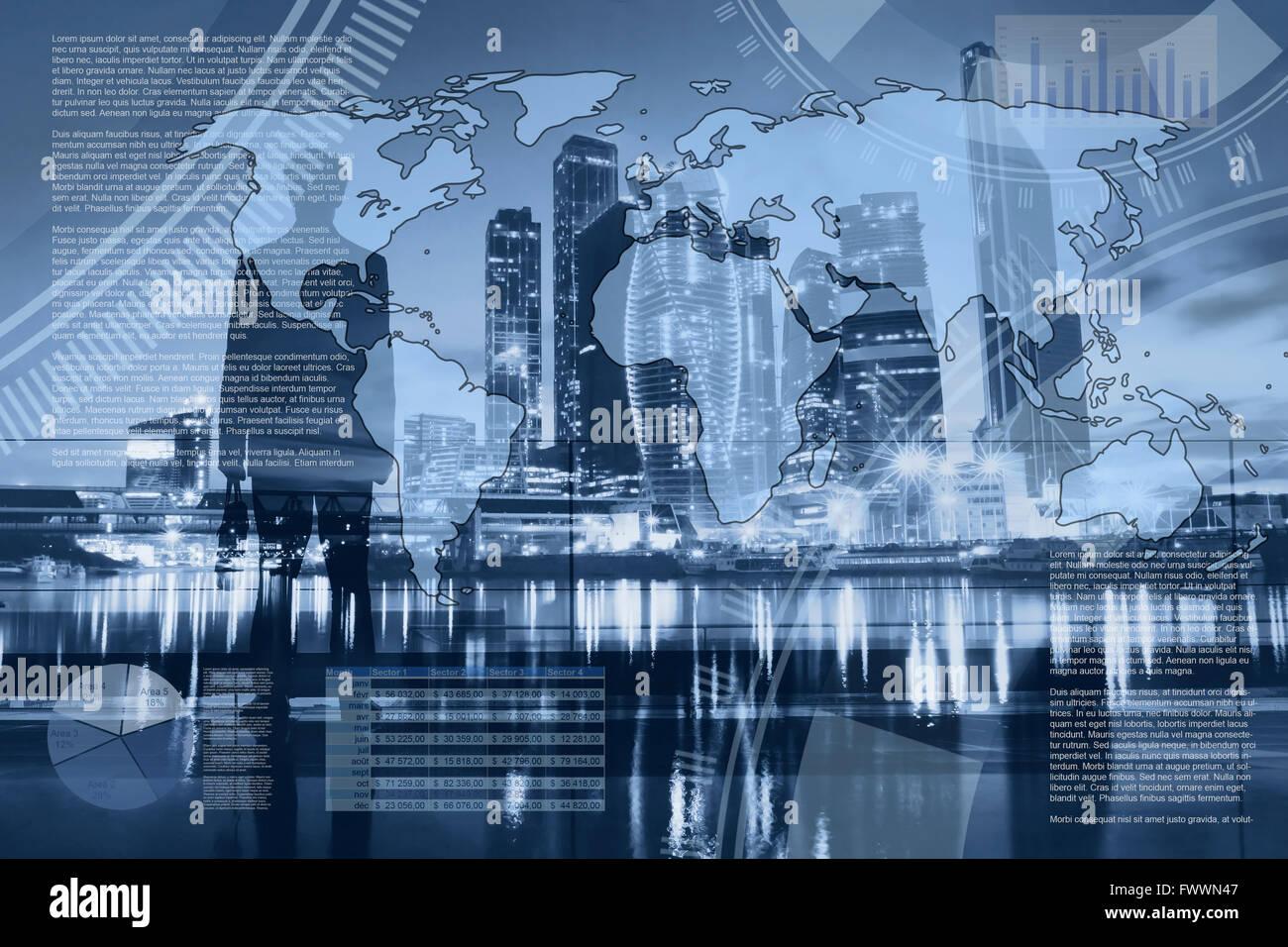 L'économie mondiale et global trading, résumé des infographies, partenariat d'affaires internationales, planche Banque D'Images