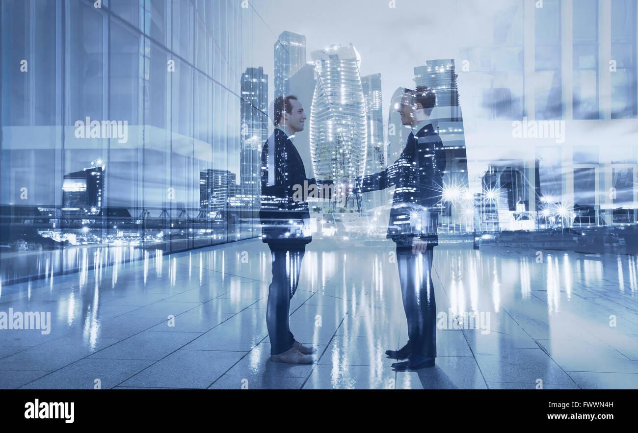 Poignée de main, partenariat et collaboration concept, double exposition Photo Stock