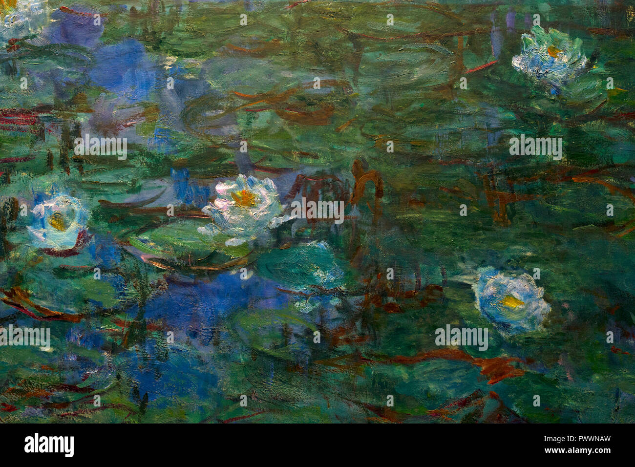 Détail de bleu Nénuphars, nymphéas bleus de Claude Monet, 1916-1919, Musée d'Orsay, Paris, Photo Stock