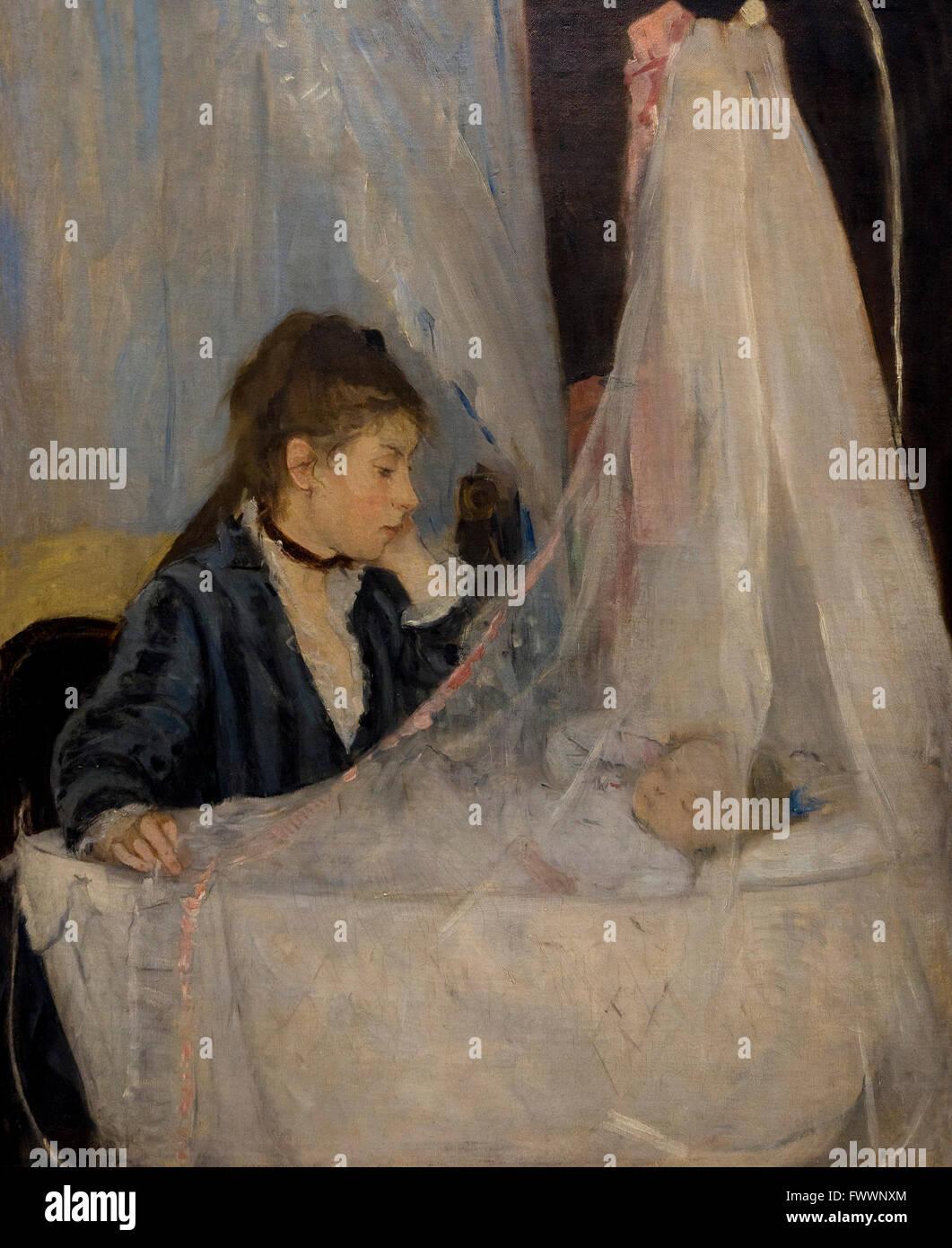 Le berceau, le berceau, par Berthe Morisot, 1872, Musée d'Orsay Paris France Europe Photo Stock
