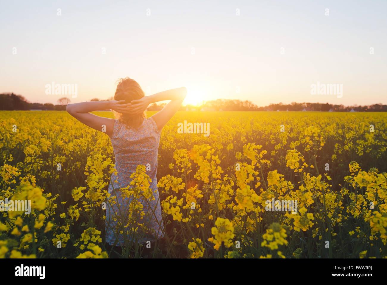 Jeune femme profitant de l'été et la nature dans le champ de fleurs jaunes au coucher du soleil, l'harmonie Photo Stock