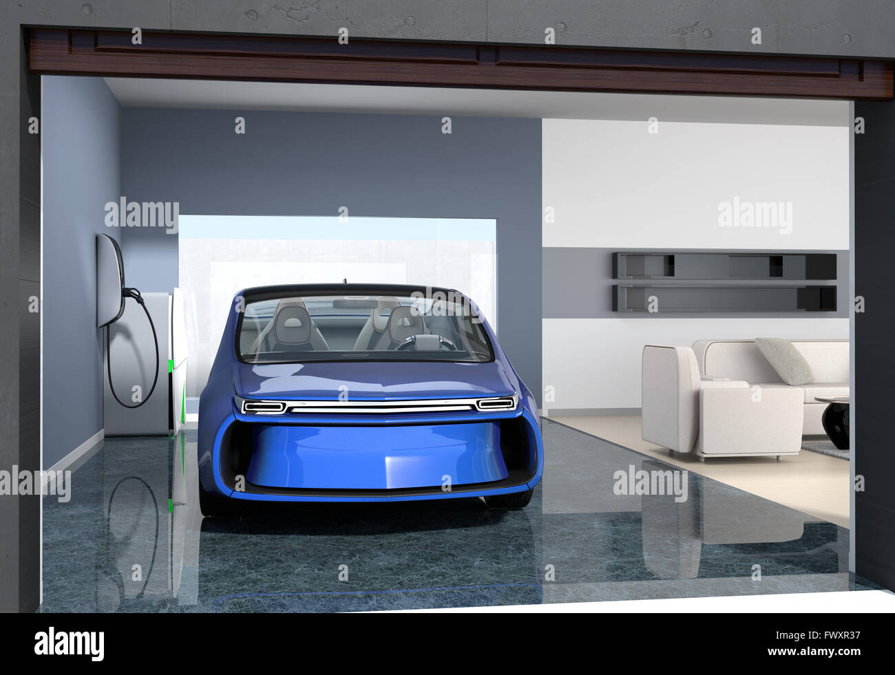voiture lectrique bleu parc dans garage moderne le garage se connecter avec salon qui montrent. Black Bedroom Furniture Sets. Home Design Ideas