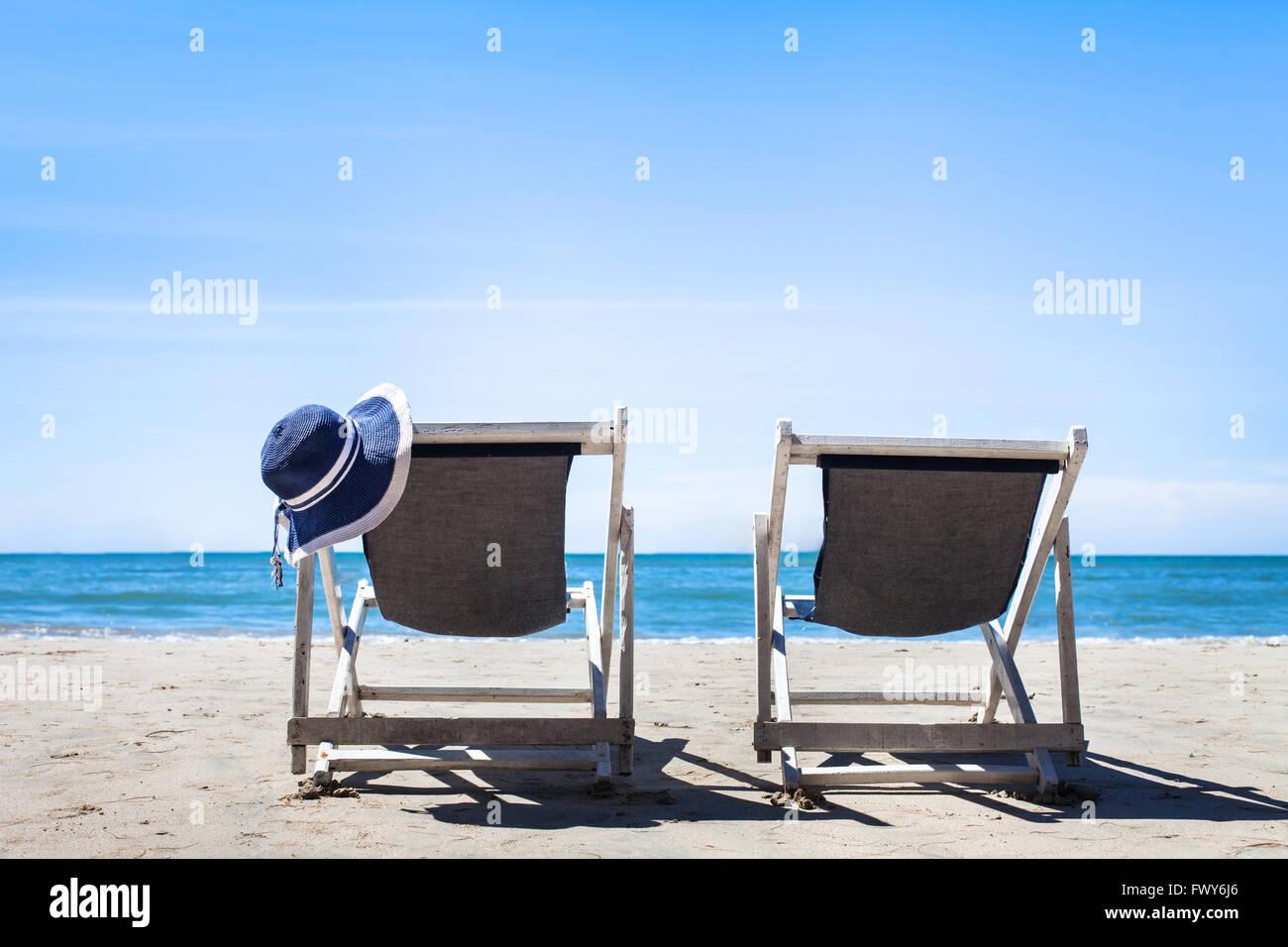 Vacances à la plage, idéal pour les couples en lune de miel destination tropicale, l'arrière Photo Stock