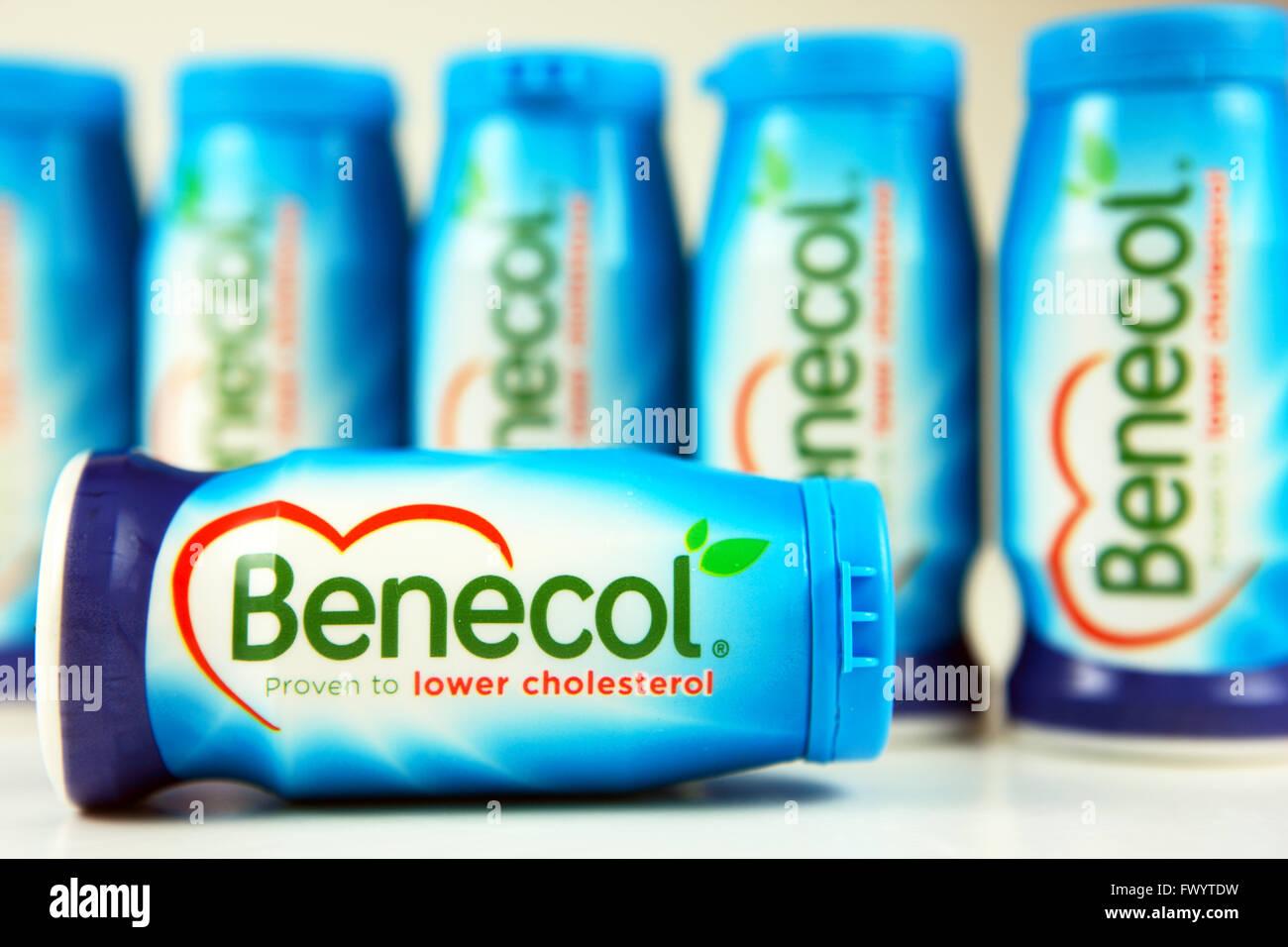 Benecol est un produit alimentaire pour diminuer le cholestérol appartenant à la propriété d'une société finlandaise Banque D'Images