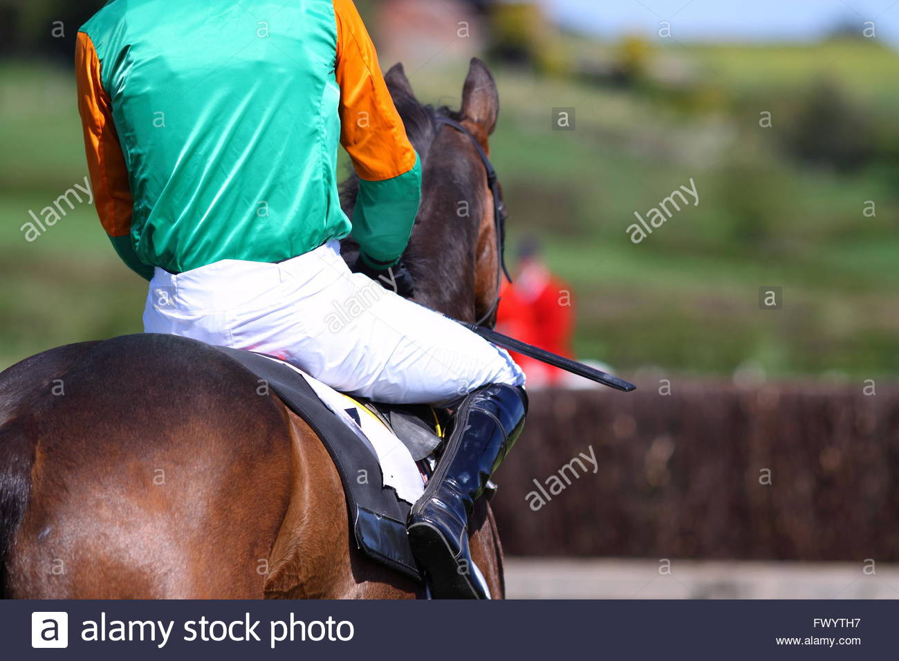 Cavalier Jockey course de chevaux Photo Stock