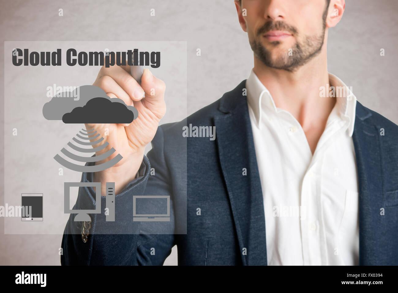 Dessin homme computer concept cloud sur verre, isolé en gris Banque D'Images